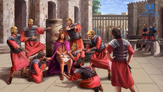 Die Soldaten verspotten Jesus
