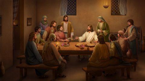 Jesus isst Brot und erklärt die Schriften nach Seiner Wiederauferstehung