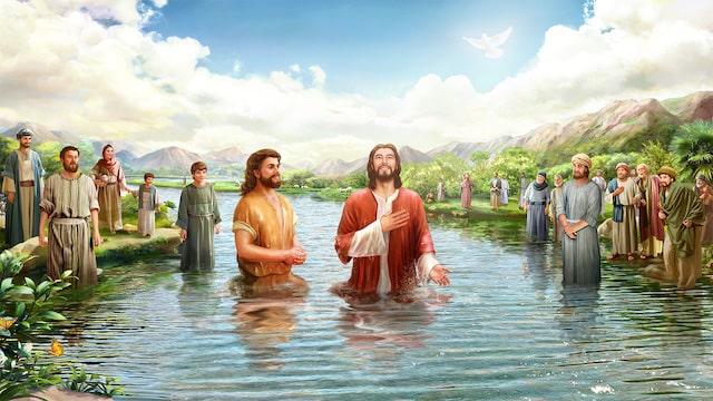 Jesus Bild, johannes der täufer und jesus