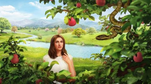 Eva isst Obst