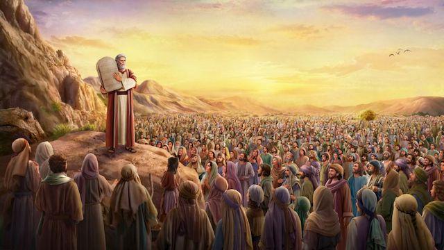 Mose verkündet die Zehn Gebote