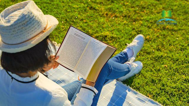 Ein Mädchen sitzt auf dem Rasen und liest die Worte Gottes