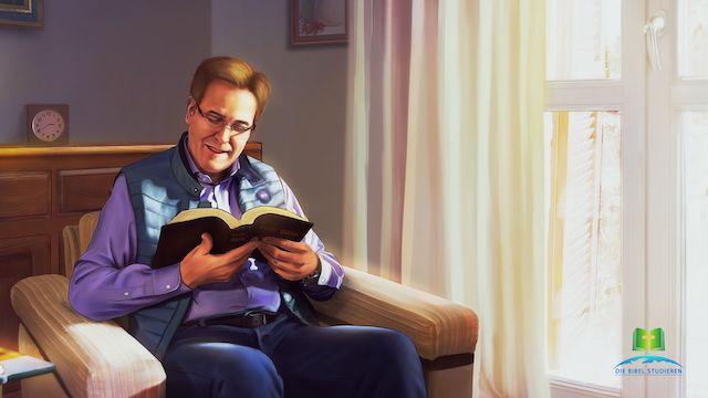 Ein Mann liest wort Gottes